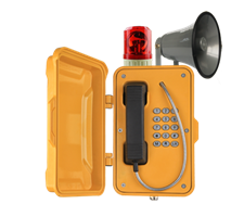 wall mounted yellow IP66 Broadcasting Telephone with large rubber Keypad and 9 memory auto call Beacon and Horn