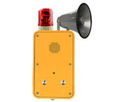 IP66 weatherproof industrial broadcasting telephone with 2 hands-free call buttons, beacon and horn