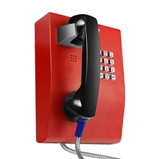 red emergency industrial wall mounted metal telephone