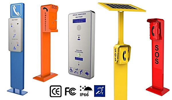emergency call point, emergency solar powered telephone call points and auto dialling intercoms