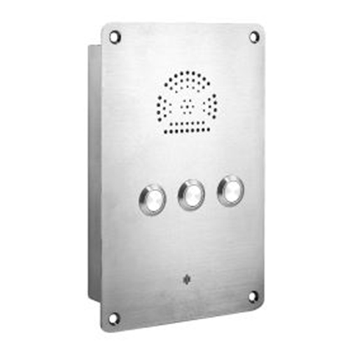 Heavy Duty Flush Mounted Intercom - stainless-steel IP65 Watertight with three auto dialling buttons