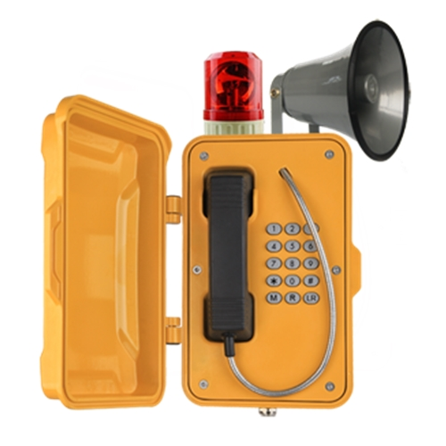 industrial watertight broadcasting telephone with horn, full keypad and 9 memory autodial numbers