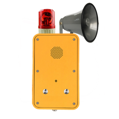 Robust Industrial PTC IP66 weatherproof emergency broadcasting hotline with 2 call buttons and beacon, horn repeater ringer