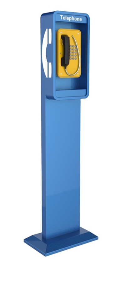 floor monuted telephone pillar and infomation call point for weatherproof series, vandal proof telephones, analogue, voip sip or 3G wireless
