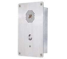 1 Button Industrial watertight robust PTC Hotline or P2P Intercom, Flush Mounted