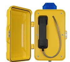 Weatherproof Industrial Emergency or Tunnel Telephone with beacon and Door